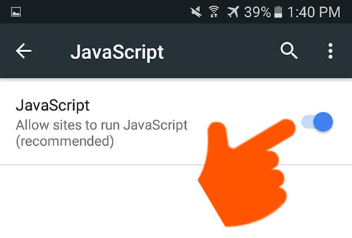 Chrome on Android | Enable Javascript
