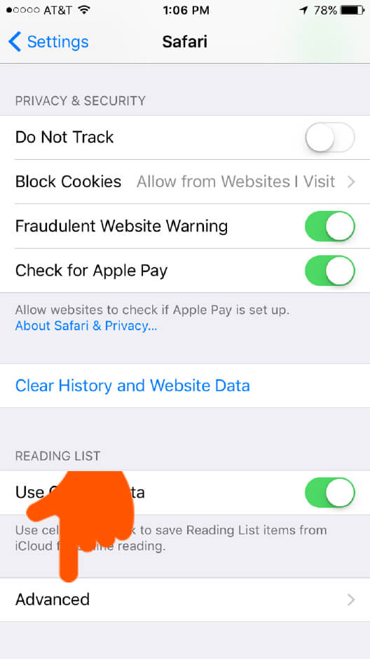 Safari on iOS | Advanced browser settings