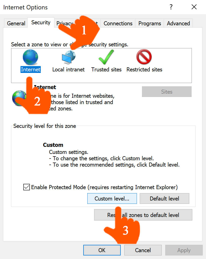 Internet Explorer | Custom level internet options