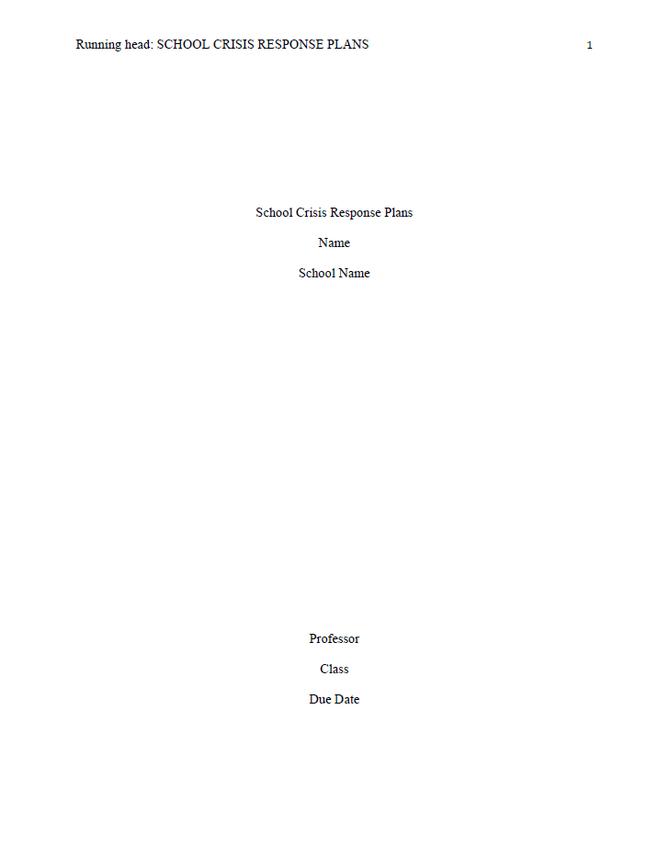 APA Style Title Page
